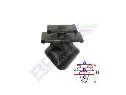 Příchytka lišt A-9,9x8; B-7,7; C-13,7x9,8; d-1,6; H-15,6mm