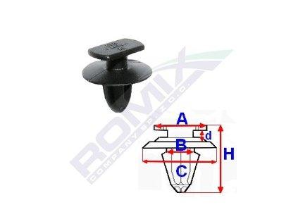 Příchytka čalounění A-10,9x6,5; B-5,4; C-13,4; d-2,6; H-12,7mm