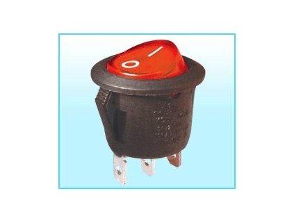 Přepínač kolébkový kulatý černý, 1018