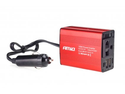 Měnič napětí AMiO 12V/230V, 150W/300W 2xUSB, 02468