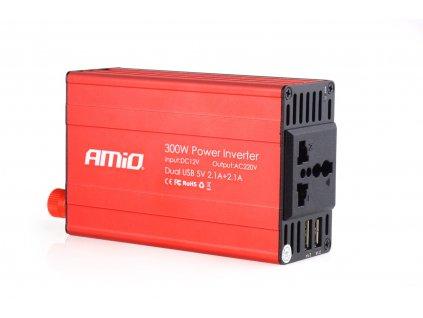 Měnič napětí AMiO 12V/230V, 300W/600W 2xUSB, 02470