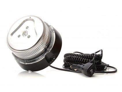 Maják magnetický LED 12/24V, 8 programů, bezbarvý kryt, kabel 7m, se zástrčkou