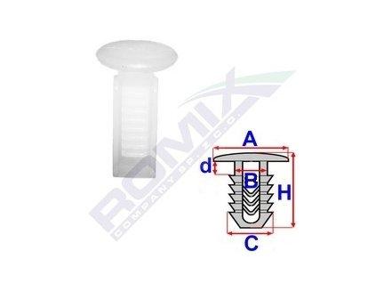 Příchytka čalounění A-12,3; B-5,4; C-7,1x7,1; d-2; H-19mm (balení 20ks)