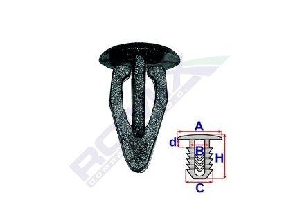 Příchytka čalounění A-13,6; B-7; C-9,9; H-19,6mm (balení 7ks)
