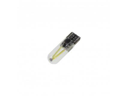 COB LED T10 bílá, 12-24V, sklo