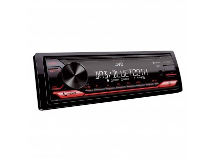 JVC DAB / FM autorádio bez mechaniky/Bluetooth/USB/AUX/odním.panel/červená