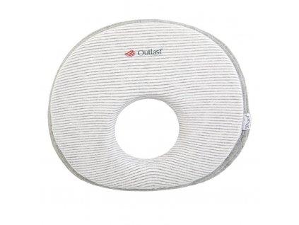 Polštářek - podhlavník pro novorozence Outlast® - pruh bílošedý melír/šedý melír (Velikost UNI)