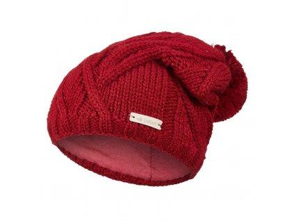 Čepice pletená bambule Outlast ® - bordová (Velikost 4   45-48 cm)