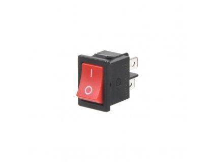 Spínač kolébkový hranatý 6A, červené tlačítko