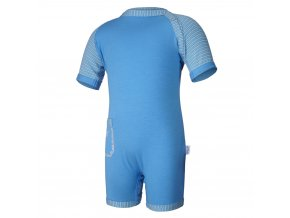 Overal tenký krátký Outlast® - modrá/pruh modrožlutý (Velikost 68)