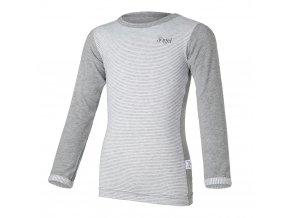 Tričko tenké proužek DR Outlast® - šedý melír/pruh šedobílý melír (Velikost 122)