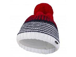 Čepice pletená pruhovaná Outlast ® - bílomodročervená (Velikost 4 | 45-48 cm)