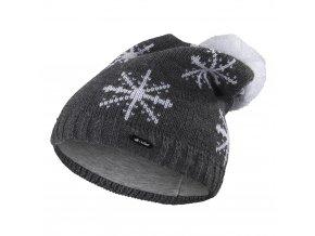 Čepice pletená spadlá VLOČKA Outlast ® - tm.šedá (Velikost 4   45-48 cm)