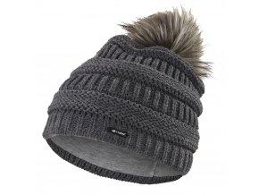 Čepice pletená 3D pruhy Outlast ® - tm.šedá (Velikost 5   49-53 cm)