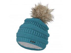 Čepice pletená 3D pruhy Outlast ® - tm.mentolová (Velikost 5 | 49-53 cm)
