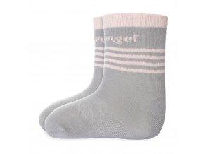 Ponožky tenké protiskluz Outlast® - tm.šedá/sv.růžová (Velikost 20-24)