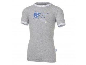 Tričko tenké KR obrázek Outlast® - šedý melír (Velikost 128)