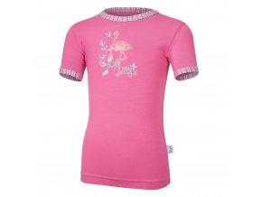 Tričko tenké KR obrázek Outlast® - tm.růžová (Velikost 128)