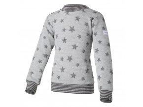 Mikina hvězdičky lem - šedý melír hvězdičky (Velikost 128)
