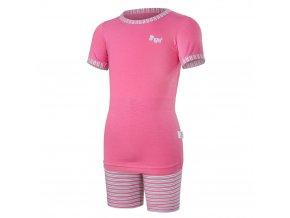 Pyžamo KR Outlast® - tm.růžová/pruh růžovozelený (Velikost 128)