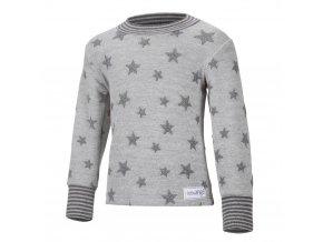 Mikina hvězdičky - šedý melír hvězdičky (Velikost 104)