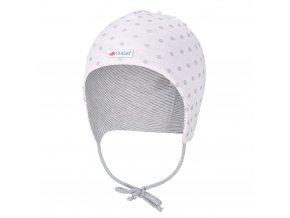 Čepice zavazovací podšitá Outlast ® - růžová lesk puntík/pruh bílošedý melír (Velikost 4 | 45-48 cm)