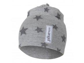 Čepice podšitá Outlast® - šedý melír hvězdičky/šedý melír (Velikost 3 | 42-44 cm)
