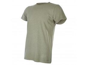 Tričko pánské KR tenké výstřih U Outlast® - khaki (Velikost M)