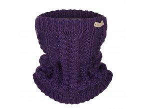 Nákrčník pletený copánek Outlast ® - fialová lesk (Velikost 5   49-53 cm)