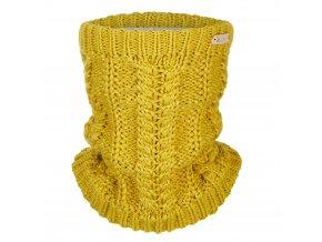 Nákrčník pletený copánek Outlast ® - hořčice lesk (Velikost 5   49-53 cm)