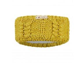 Čelenka pletená copánek Outlast ® - hořčice lesk (Velikost 5 | 49-53 cm)