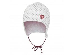 Čepice zavazovací podšitá Outlast® - natur srdce šedé/bordó (Velikost 1   36-38 cm)