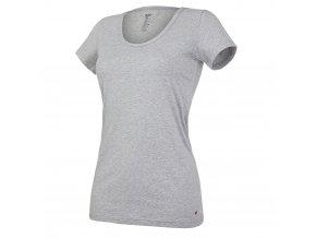 Tričko dámské KR tenké výstřih U Outlast® - šedý melír (Velikost S)