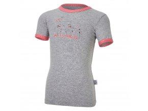 Tričko tenké KR obrázek Outlast® - šedý melír/pruh jahodový (Velikost 86)