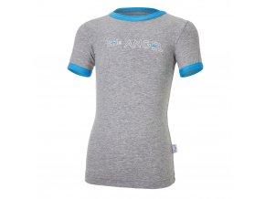 Tričko tenké KR obrázek Outlast® - šedý melír/modrá (Velikost 86)
