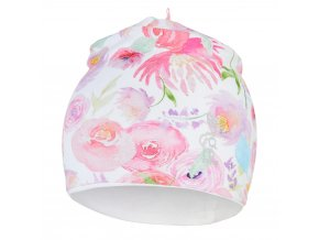 Čepice podšitá Outlast® - kytky na bílé/bílá (Velikost 1   36-38 cm)