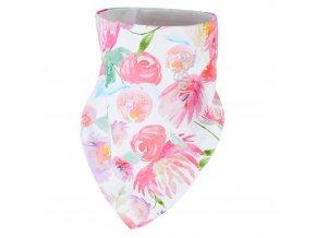 Šátek na krk podšitý Outlast® - kytky na bílé/bílá (Velikost UNI)