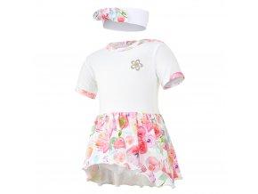 Body šaty tenké KR set Outlast® - bílá/kytky na bílé (Velikost 68)
