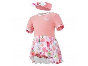 Body šaty tenké KR set Outlast® - tm.losos/kytky na bílé (Velikost 68)