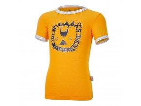 Tričko tenké KR obrázek Outlast® - žlutooranžová/pruh bílošedý melír (Velikost 86)