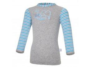 Tričko tenké DR obrázek Outlast® - šedý melír/pruh sv.modrý (Velikost 86)