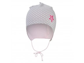 Čepice podšitá zavazovací Outlast® - šedá puntík/růžová baby (Velikost 0 | 33-35 cm)