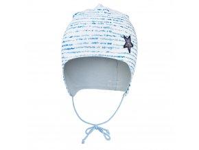 Čepice podšitá zavazovací Outlast® - modrý proužek/sv.modrá (Velikost 0   33-35 cm)