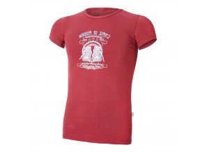Tričko tenké KR tisk Outlast® - bordová/tenisky (Velikost 134)