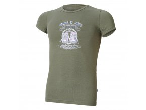 Tričko tenké KR tisk Outlast® - khaki/tenisky (Velikost 134)