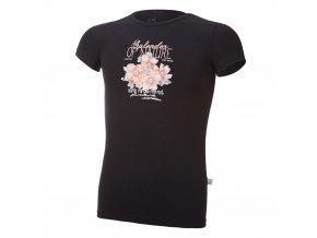 Tričko tenké KR tisk Outlast® - černá/kytky (Velikost 134)