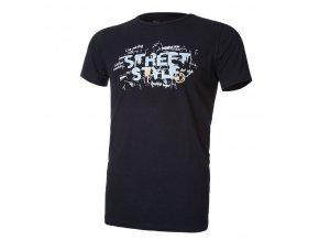 Tričko pánské KR tenké výstřih U tisk Outlast® - černá (Velikost M)