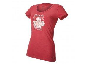 Tričko dámské KR tenké tisk Outlast® - bordová/kytky (Velikost S)