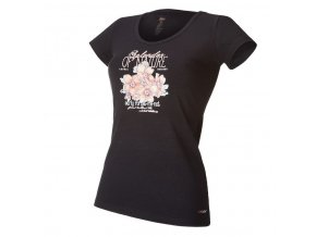 Tričko dámské KR tenké tisk Outlast® - černá/kytky (Velikost S)
