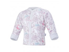 Kabátek podšitý Outlast® - béžová-růžová liška/pruh bílošedý melír (Velikost 50-56)
